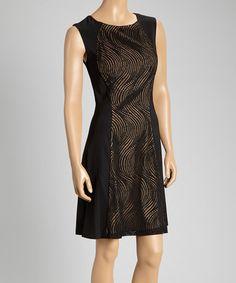 Look at this #zulilyfind! Black & Nude Wave-Embroidered Sheath Dress by En Focus Studio #zulilyfinds