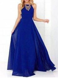 Backless Halter Maxi Dress - CERULEAN