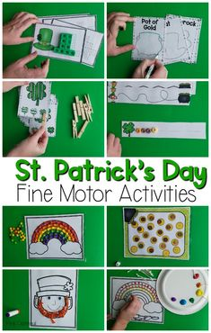 St. Patrick's Day fine motor activities. Fun activities to work on fine motor skills with a St. Patrick's Day theme. Great for pre-k, K, and occupational therapy!