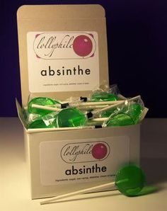 Green fairy on a stick! These adults-only Lollyphile Absinthe lollipops are made with the (legal) hard stuff. Green Fairy Absinthe, Artemisia Absinthium, Jelly, Liquor, Mixer, Candy, Lollipops, Party Ideas, Gift Ideas