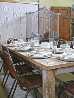 Barn wood farm table with leather metal chairs