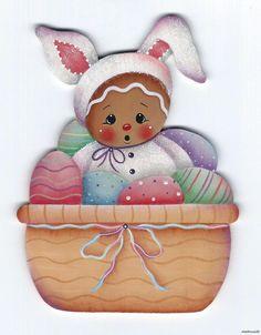 HP GINGERBREAD Bunny in Easter Egg Basket FRIDGE MAGNET