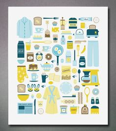 """Quirky little illustrative print: """"Lazy Sunday"""". #illustration #blue #yellow #brown #prints #kitchen #whimsical"""