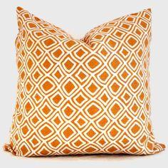 Duralee Orange Geometric Trellis Decorative Pillow Cover, 18x18, 20x20, 22x22 or lumbar pillow