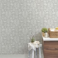 Crown Woodland Floral Wallpaper In Grey