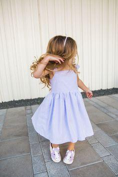 purple seersucker dress for girls, from cuteheads.com. Boutique quality, modern seersucker for modern girls.