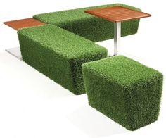 Bancos de césped artificial. Grass Garden Benches-#césped artificial #jardín #www.stepongreen.com