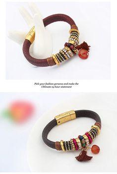 Dancing Brown Diamond Decorated Tassel Design Alloy Korean Fashion Bracelet