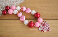 Valentine's Day necklace Heart bubblegum necklace gumball necklace by HeadbandsandHineys