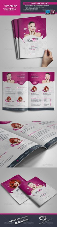 Beauty Saloon Brochure Template #GraphicRiver Beauty Saloon Brochure Template Fully layered INDD Fully layered PSD 300 Dpi, CMYK IDML format open Indesign CS4 or later Completely editable, print ready Text/Font or Color can be altered as needed All Image are in vector format, so can customise easily Photos are not included in the file Font File:Lato Font: .fontsquirrel /fonts/lato Social-Logos: .dafont /social-logos.font Help.txt file Created: 9November13 GraphicsFilesIncluded: PhotoshopPSD…