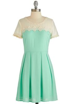 Endearing Decorum Dress - Mint, Tan / Cream, Crochet, Pleats, Special Occasion, Wedding, Bridesmaid, A-line, Short Sleeves, Summer, Woven, Better, Scoop, Chiffon, Sheer, Daytime Party, Mid-length