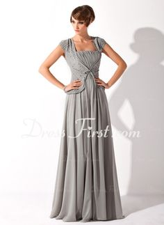 A-Line/Princess Square Neckline Floor-Length Chiffon Mother of the Bride Dress With Ruffle Beading Sequins (008005692) - DressFirst