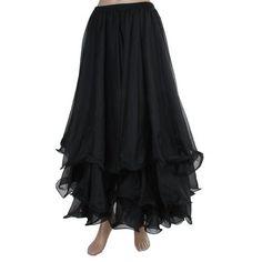 2015 Belly Dance Black Tribal Chiffon Tiered Maxi Skirt,Valentine's Gift Idea