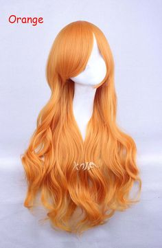 Orange Yellow Anime Cosplay Wigs Long Heat Resistant Synthetic Curly Curls Full Wig for Women,75cm/29.5'' 260g