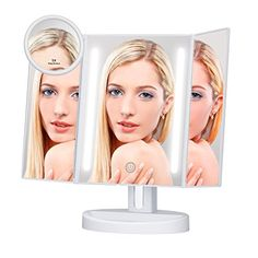 KEDSUM Trifold Lighted Makeup Mirror,LED Vanity Mirror with Lights,Tabletop Mirror with 5X Pocket Mirror,Dimmable Touch Screen with 180° Rotation,Batteries or USB Charging #KEDSUM #Trifold #Lighted #Makeup #Mirror,LED #Vanity #Mirror #with #Lights,Tabletop #Pocket #Mirror,Dimmable #Touch #Screen #Rotation,Batteries #Charging