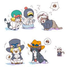 Cats - Trafalgar D. Water Law, Shachi, Penguin, Portgas D. Ace, and Sabo One piece