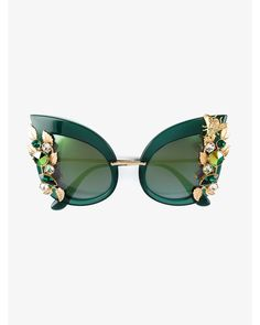 ab7d0212db71 Dolce   Gabbana - Black Crystal Embellished Sunglasses - Lyst