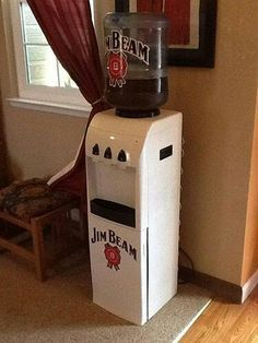 The perfect office cooler Wine And Liquor, Liquor Bottles, Wine And Beer, Jim Beam, Whiskey Barrel Furniture, Coke Cake, Jeep Concept, Best Bourbons, Metal Barrel