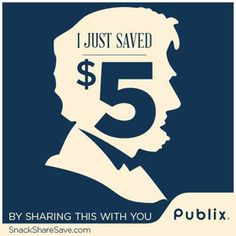 I just got a $5 digital coupon from Publix by pinning this to my board! Check out SnackShareSave.com to find out how.