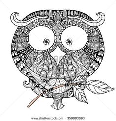 Decorative Owl Zendoodle Design Element Template Packaging Invitations Printing On Bags A Tattoo Coloring BookColoring