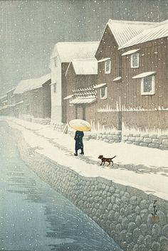 """Hasui Kawase (川瀬 巴水 Kawase Hasui, May 1883 – November was a Japanese artist. He was one of the most prominent print designers of the shin-hanga (""""new prints"""") movement. Japan Illustration, Art Occidental, Art Beat, Art Asiatique, Art Japonais, Japanese Painting, Japan Art, Tokyo Japan, Japanese Prints"""