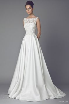 tony ward bridal couture 2015 reine des pres sleeveless wedding dress illusion neckline