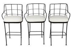Black Iron Scroll Barstools,  Set of 3