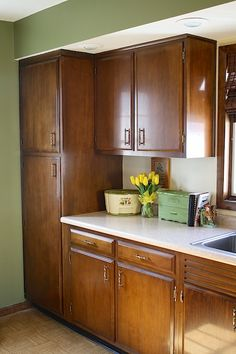 Ordinaire 1960s Kitchen, Original Birch Cabinets And Hardware Refinished.