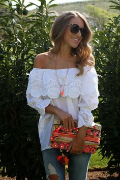 White off the shoulder crochet @chicwish top, distressed denim + embroidered clutch - Twenties Girl Style