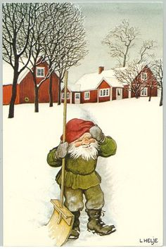 Postally used postcard in bendings. Christmas Paper Crafts, Christmas Gnome, Black Christmas, Yule Goat, David The Gnome, Baumgarten, Kobold, Mythological Creatures, Scandinavian Christmas