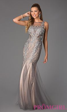 I would definitely wear this to a MC ball  Silver Sleeveless Beaded Lace JVN by Jovani Dress at PromGirl.com