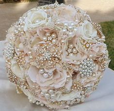 Blooms and pearls make up this wedding bouquet