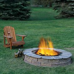 fire pit in backyard with chair