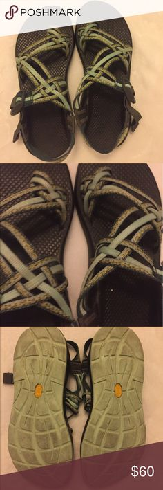 Green triple strap toe chacos chaco Have worn a few times to hike, aren't worn in at all. In great condition. Women's 9 Chacos Shoes Athletic Shoes