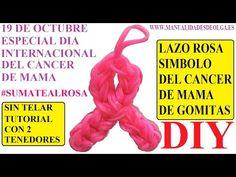 COMO HACER UN LAZO ROSA DE GOMITAS SIN TELAR, CON TENEDORES. ESPECIAL DIA DEL CANCER DE MAMA. - YouTube