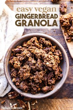 Easy vegan gluten free gingerbread granola. Meet my new favorite snack! This granola tastes like a gingerbread cookie, with a soft, rich texture and a deliciously spicy flavor. This easy granola recipe comes together quickly and is perfect for gifting. #granola #veganrecipes Healthy Breakfast Snacks, Easy Snacks, Breakfast Ideas, Breakfast Recipes, Vegan Gingerbread Cookies, Gluten Free Gingerbread, Vegan Recipes, Snack Recipes, Vegan Meals