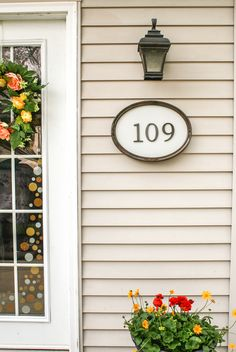 Here is a creative idea of how to display your house numbers. All you need is an old picture frame, some scrap wood, house numbers and a few Rust-Oleum spray paints! To see the 6 easy steps to this project check out the link!