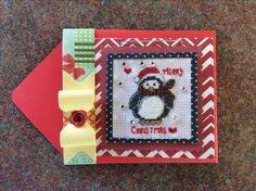 Cross Stitch Christmas Card with Penguin made by Karen Miniaci.