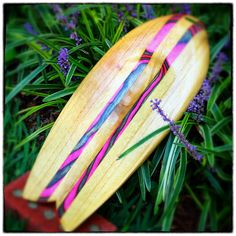 Body Surfing Hand Plane  Paulownia with Pink by OldSoulWoodWork