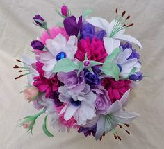 Mixed paper flower wedding bouquet