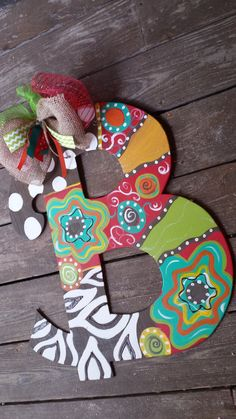 Colorful and Bright Wood Initial / Letter Door Hanger Flowers Polka Dots - Wood Letters Letter Door Hangers, Initial Door Hanger, Door Letters, Wooden Door Hangers, Painting Wooden Letters, Painted Letters, Painted Doors, Painting On Wood, Hand Painted