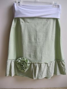 Upcycled T-shirt Skirt pattern - must make this for me!  (Will make foldover waistband less wide, though)