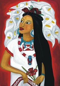 Painting by Emilia Garcia, Vendedora de Flores (Flower Seller)