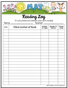 It's all sunshine and rainbows when we're reading! - May Reading Log