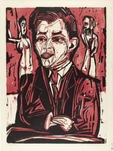 retrato de voluntad `grohmann` , grande - (Ernst Ludwig Kirchner)