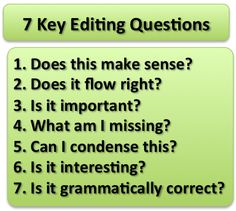 Key editing questions: Does this make sense? Does it flow right? What am I missing? Can I condense this? Is it interesting? Is it grammatically correct? Editing Writing, Writing Advice, Writing Resources, Teaching Writing, Writing Help, Writing Skills, Writing A Book, Writing Prompts, Copy Editing