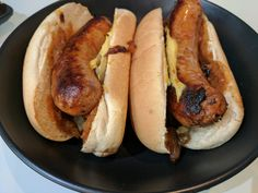[Homemade] Chilli & Garlic Hotdogs with Bourbon Barbeque Sauce and Caramelised Onions
