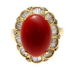GENUINE NATURAL CABOCHON RED CORAL DIAMOND RING SET IN SOLID 14K YELLOW GOLD Coral Ring, Turquoise Jewelry, Coral Turquoise, Red Coral, Baguette, Diamond Ring Settings, Art Nouveau, Gems And Minerals, Antique Jewelry
