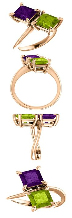 10kt Rose Gold 6.5mm Square 2 Gemstone Peridot & Amethyst Engagement Ring (ST122935:311:P) Price: $359.99 !! #amethsyt #peridot #gold #ring
