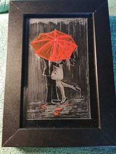 Red Umbrella, Kiss in the rain, rainy day, Lovers in the rain Engraving Picture, Kissing In The Rain, Glass Engraving, Red Umbrella, Vase, Portrait, Art Drawings, Lovers, Fun